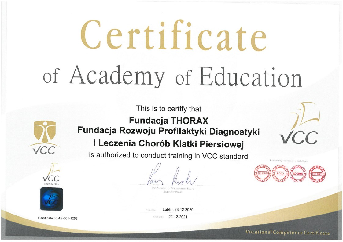 Certyficate of Academy of Education